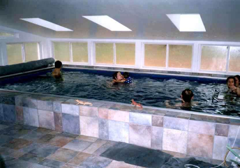 5 people enjoy the Endless Pool in Valarie Arms' sunroom
