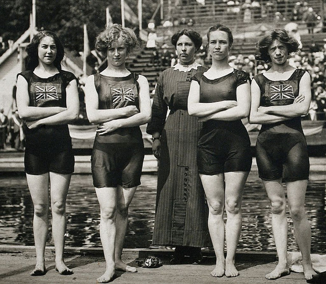 Olympic swimmers Belle Moore, Jennie Fletcher, Annie Speirs, and Irene Steer at the 1912 Stockholm Olympics