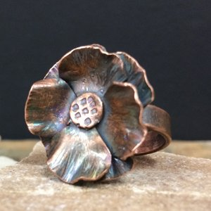 Copper formed flower ring made by Erica Stice