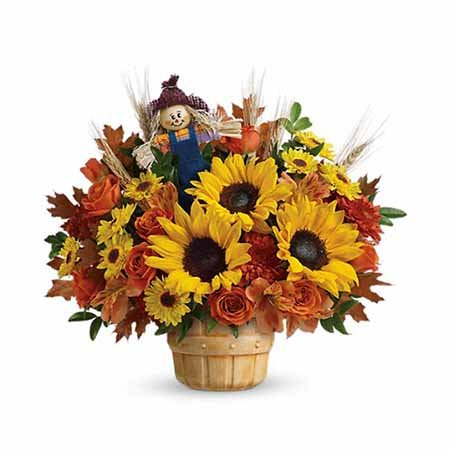 Scarecrow sunflowers basket bouquet best selling Thanksgiving flowers