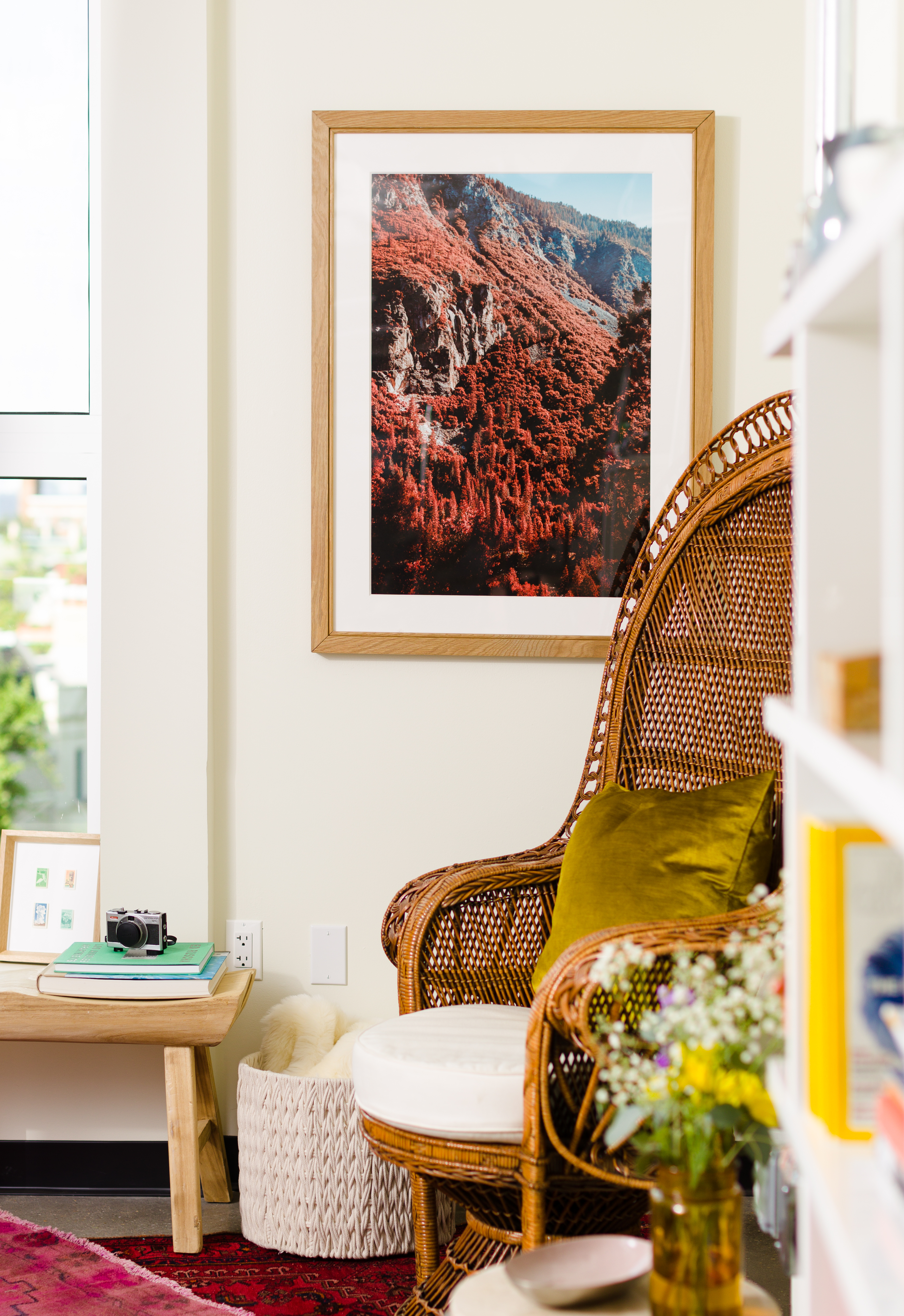 wooden picture frame in living room