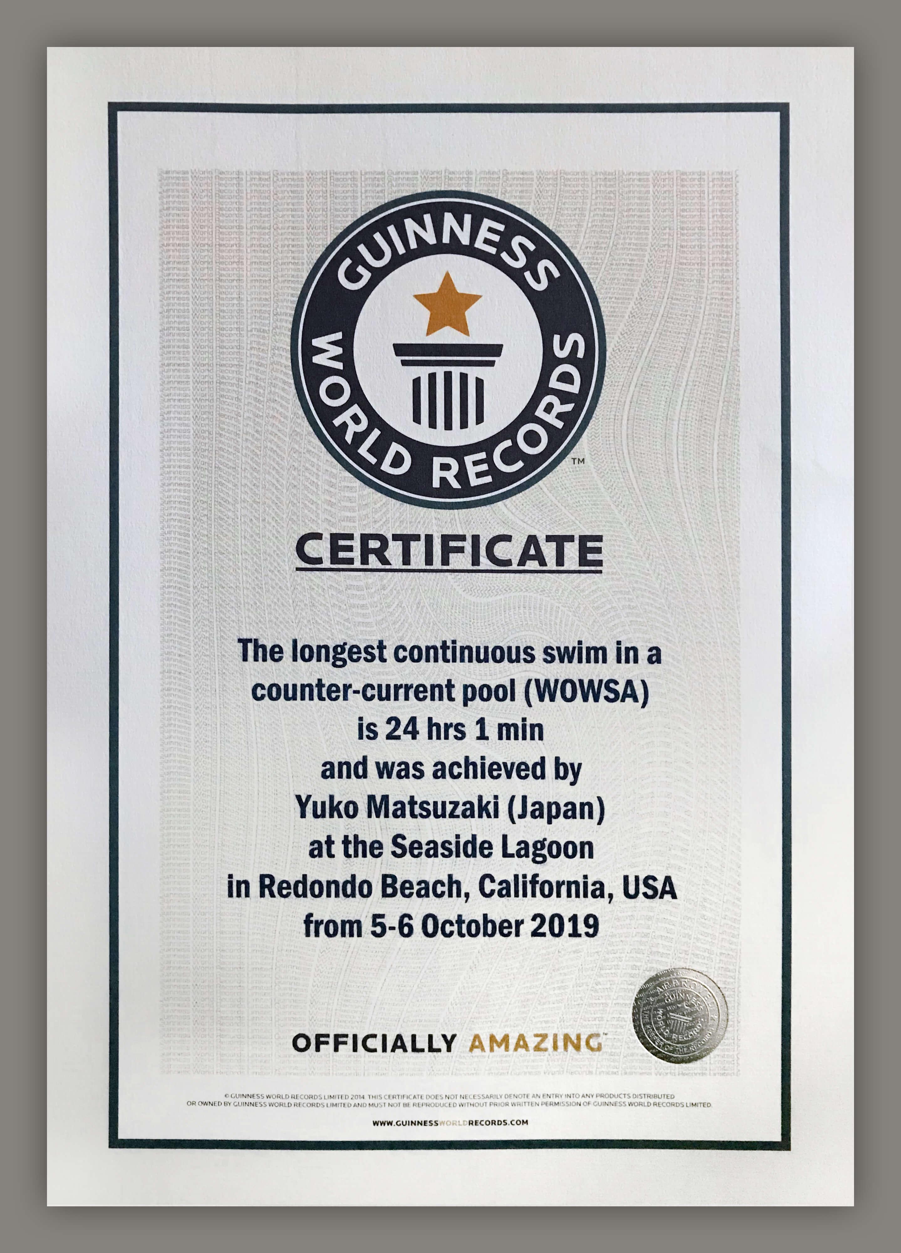 Yuko Matsuzaki's Guiness World Record certification