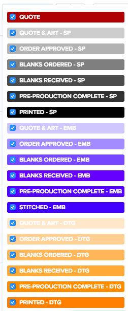 Printavo custom statuses with color coding