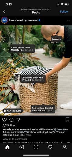 shoppable Instagram post details