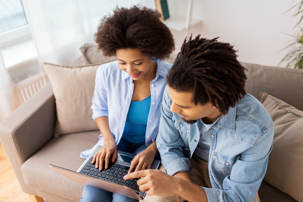 couple researching on internet
