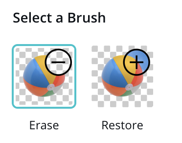 """An image showing two brush options """"Erase"""" and """"Restore."""" These options are available after using the """"Background removal tool"""" on Canva."""