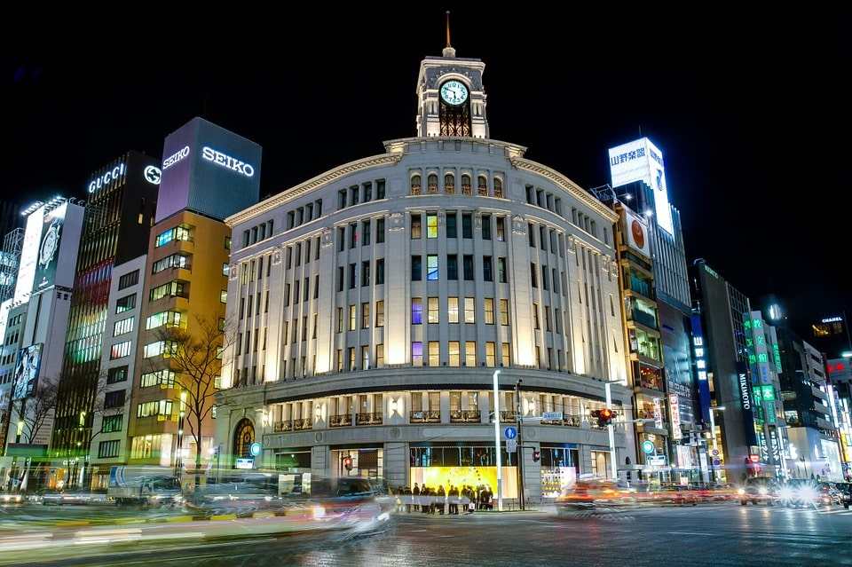 Full of glitzy stores, Ginza is one of the best places to stay in Japan for shopaholics