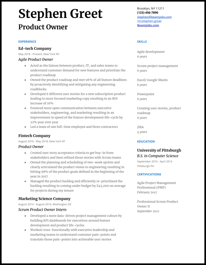 Product Owner Resume Samples For 2020
