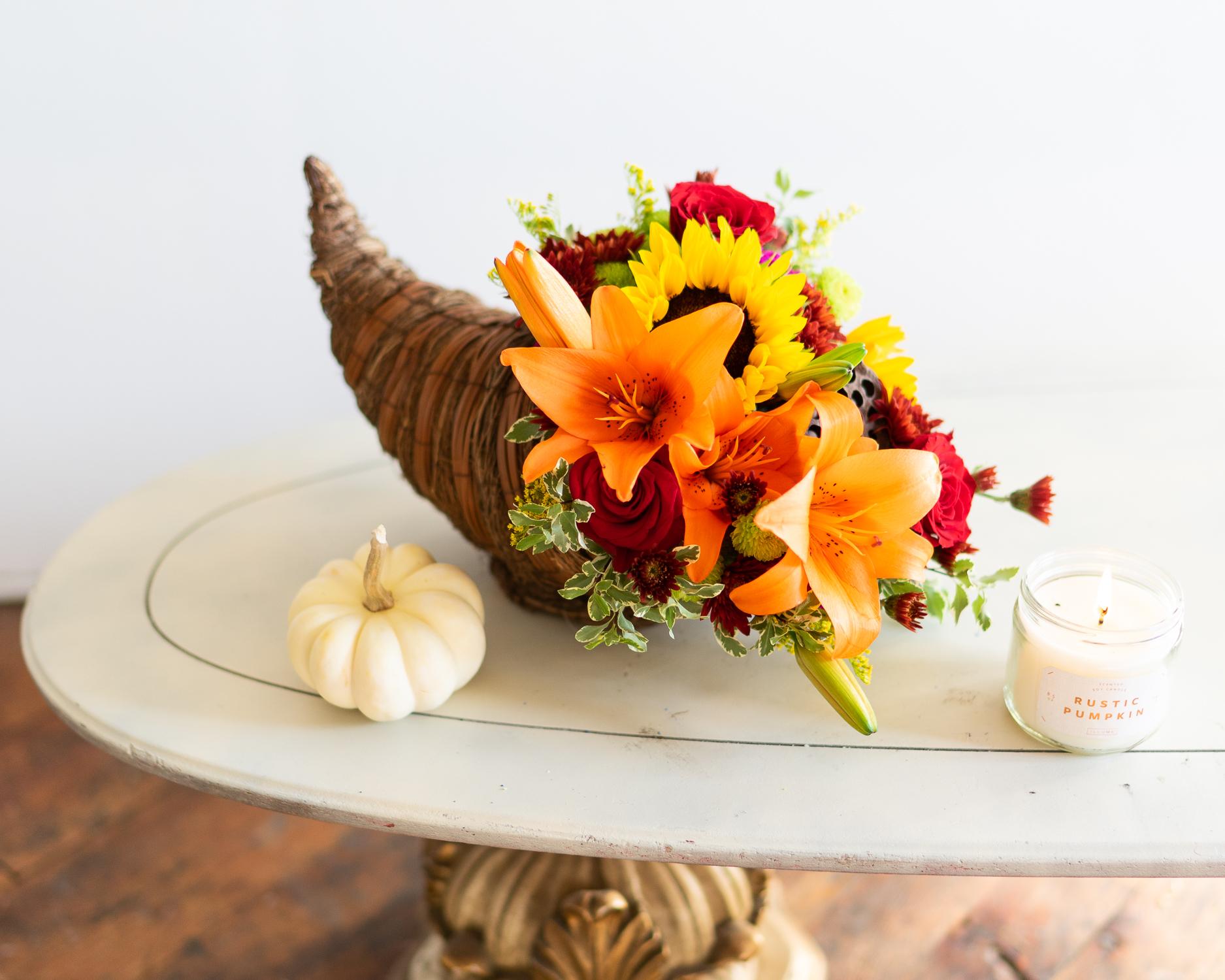 Cornucopia with Flowers Inside