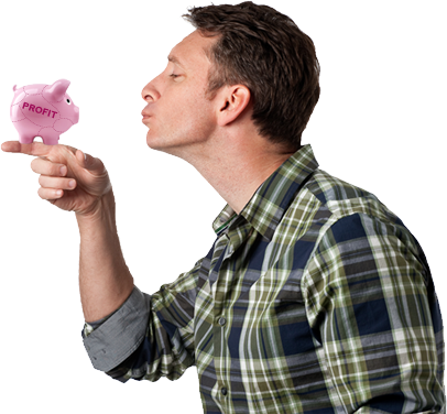 Mike Michalowicz kissing the profit pig