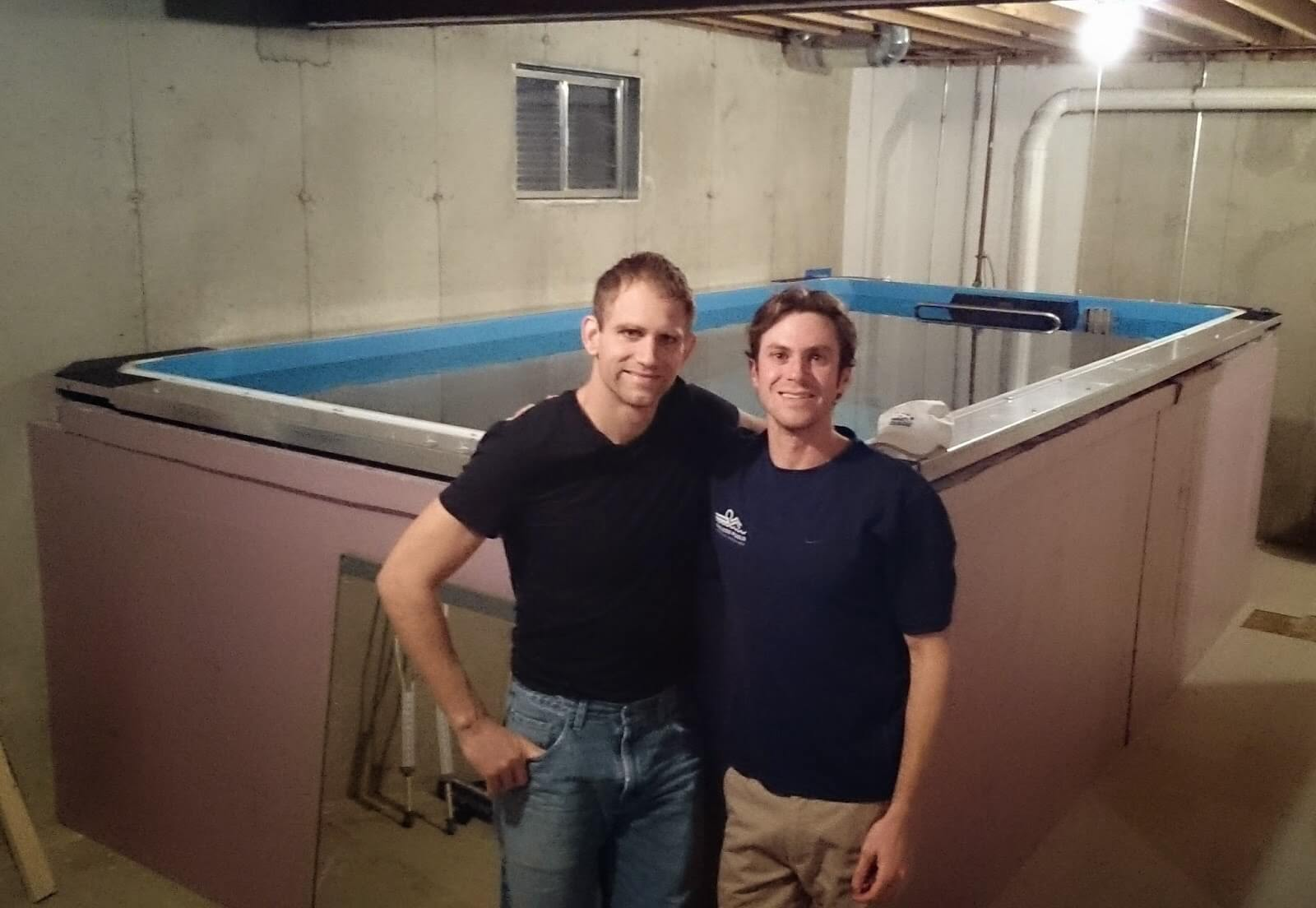 Professional triathlete Andrew Starykowicz with the Endless Pool in his basement