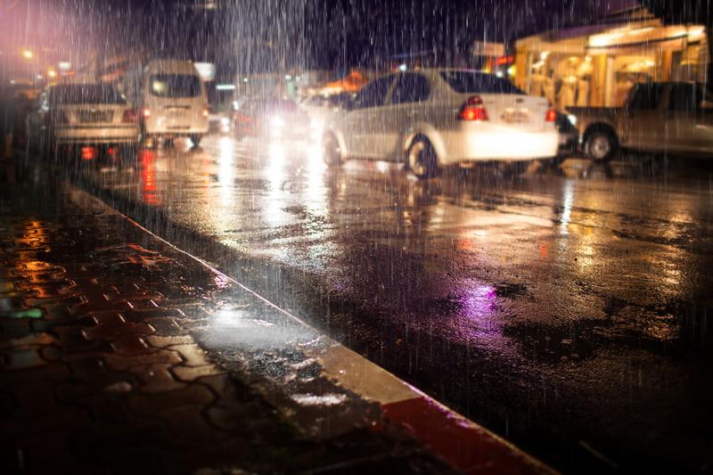rainy street cars