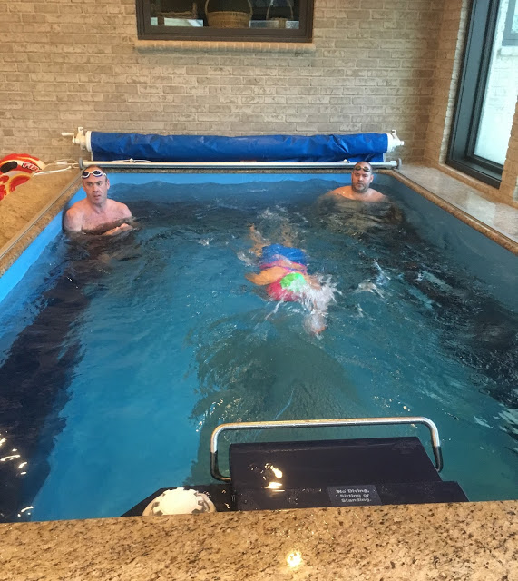 A triathlon club swim training session in the Endless Pools swimming machine