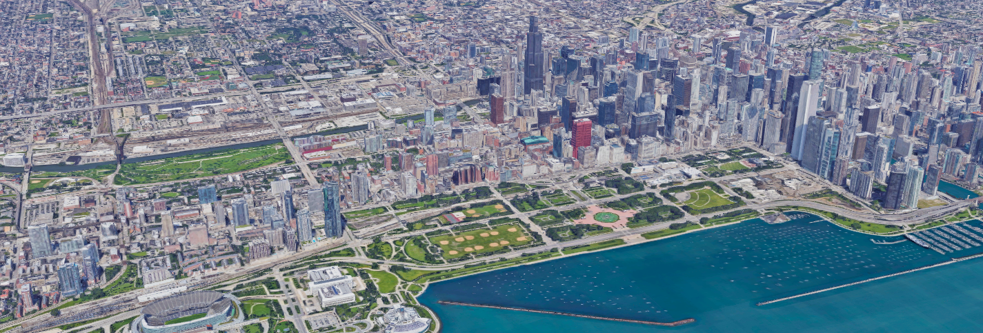 A satellite rendering of downtown Chicago, IL centered on East-West University