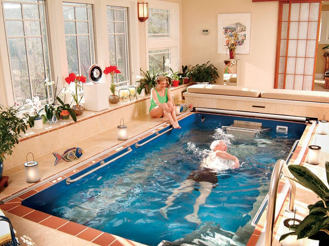 Dorothy and Ray Cox enjoy aquatic therapy in their Endless Pool