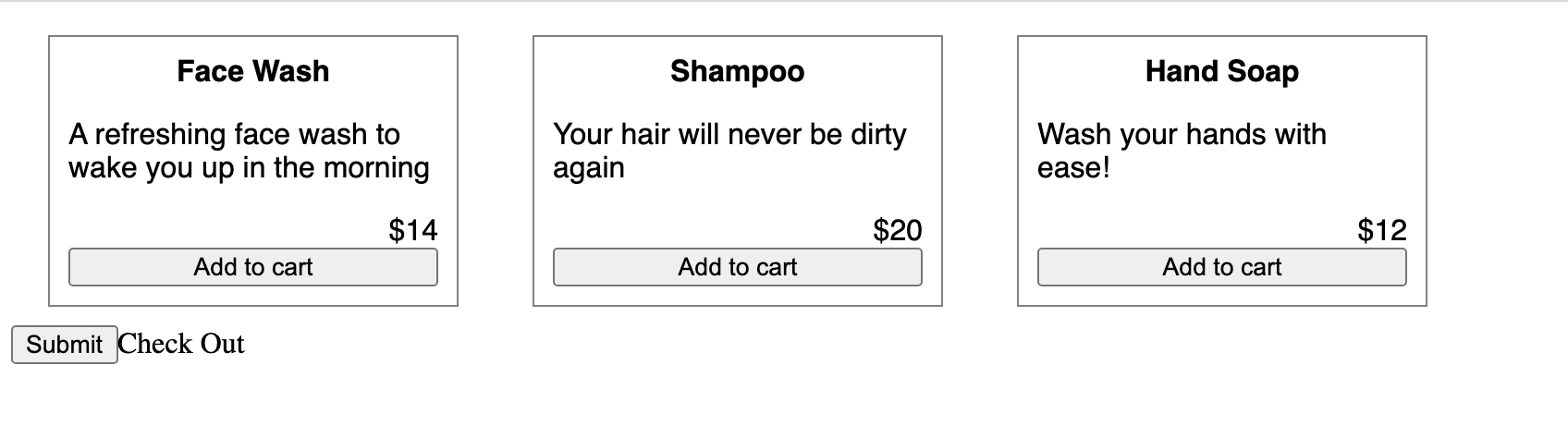 Screenshot of basic product page displaying three item names and descriptions: Face Wash, Shampoo, Hand Soap