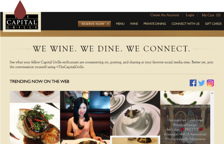 The Capital Grille social media feed