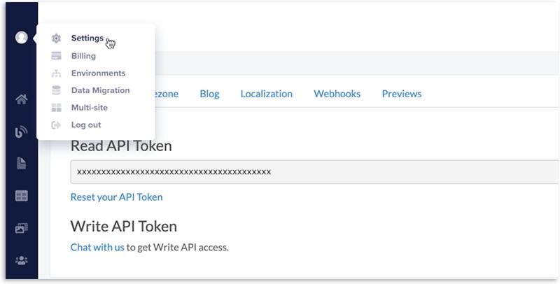 ButterCMS Settings - Read API Token