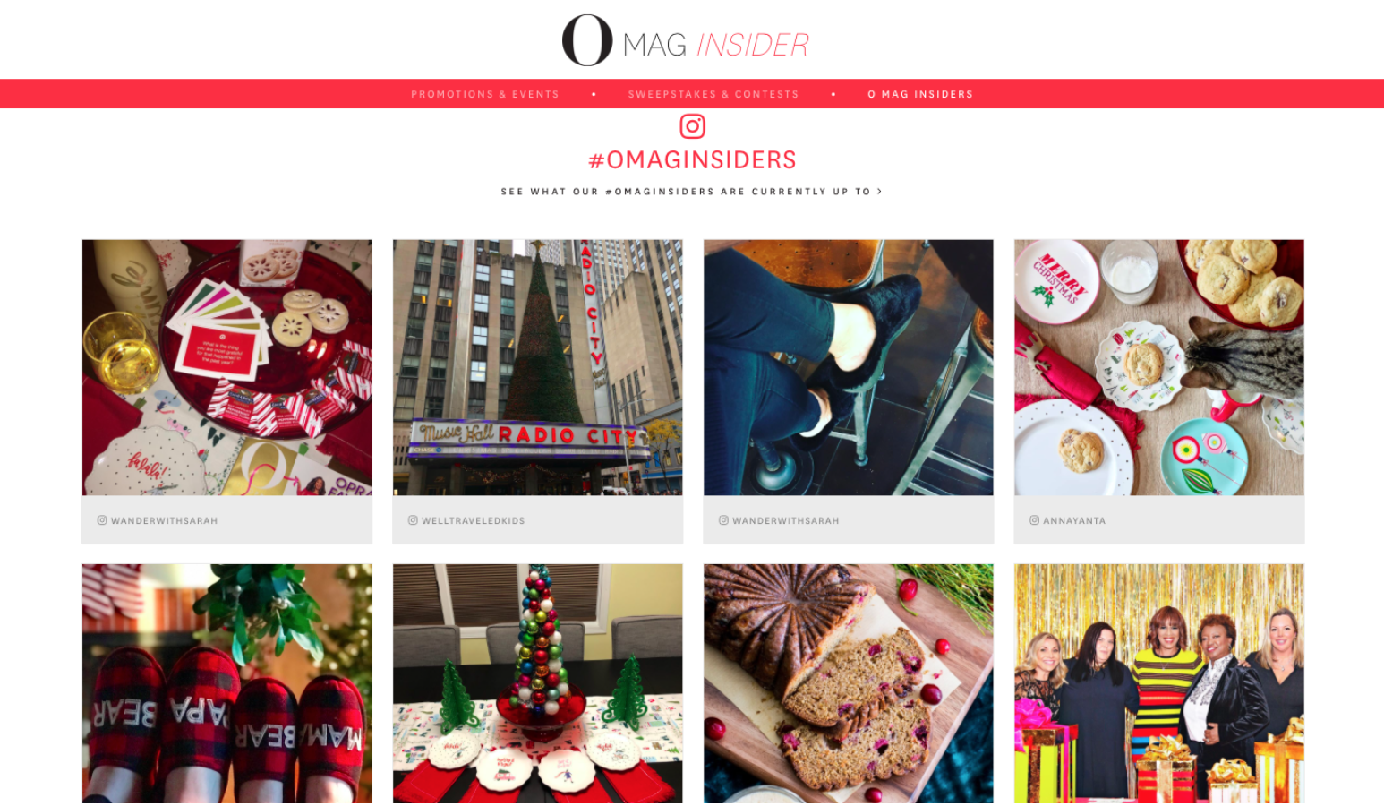 Juicer's social wall on O Mag Insider