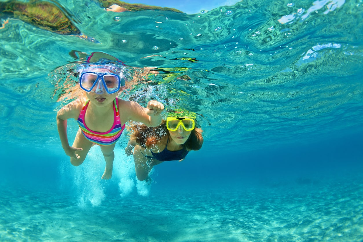 Bringing snorkeling gear from the mainland is important for planning a Puerto Rico family vacation