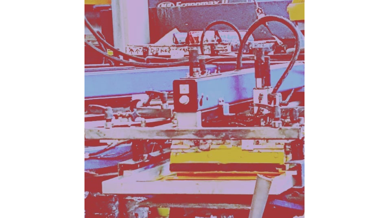 A screen printing press with an artistic filter.