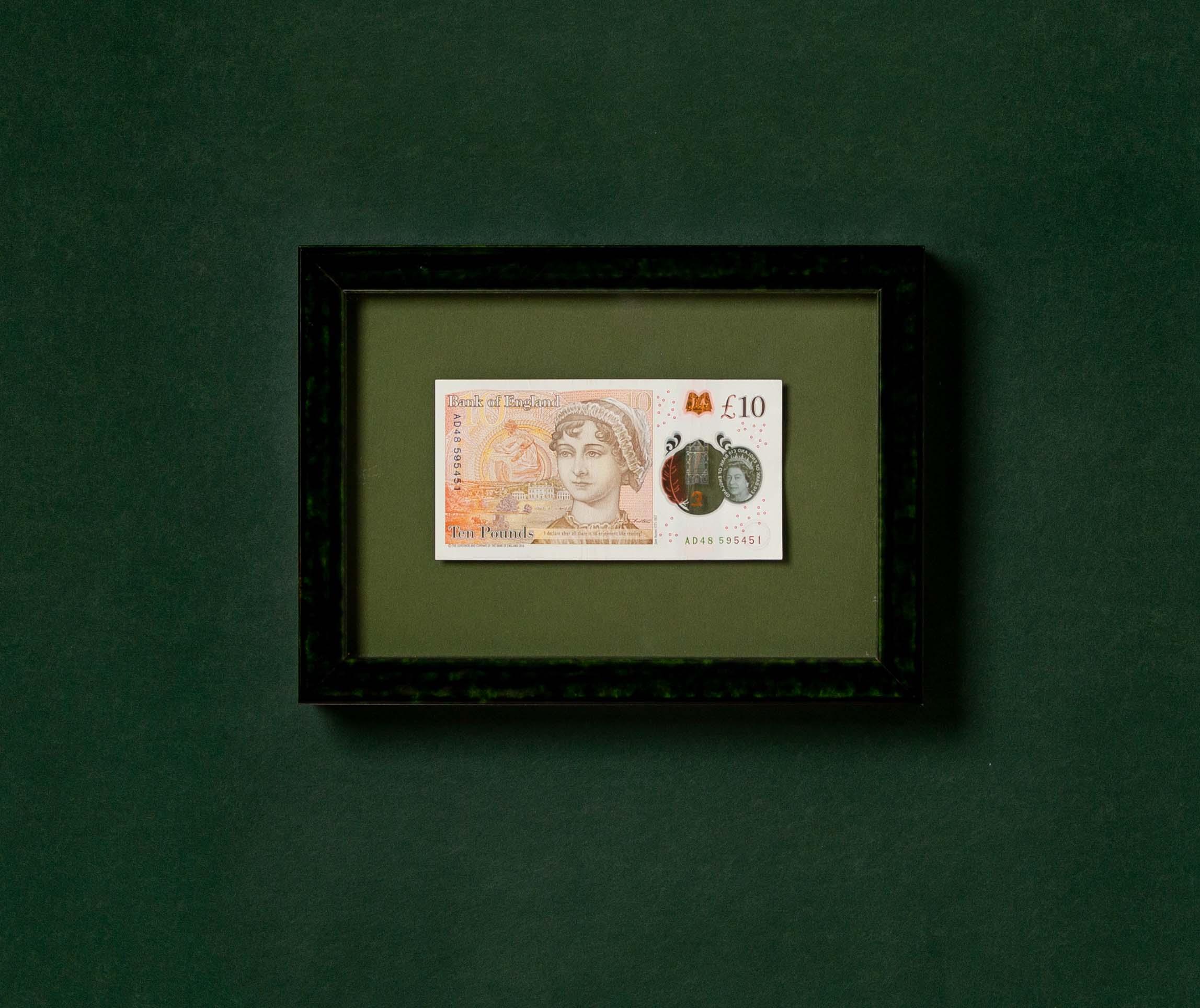 framed British currency