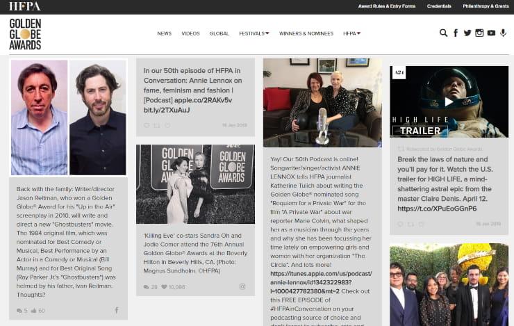 Embedded social media feed Golden Globes