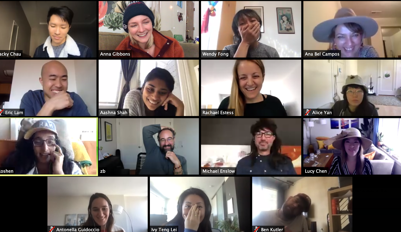 The Exygy Team at our first 100% remote (hat themed) OKR party in March.