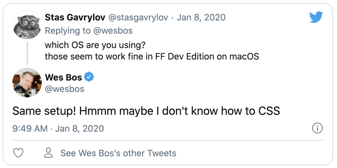 Wes Bos tweeting about not knowing CSS
