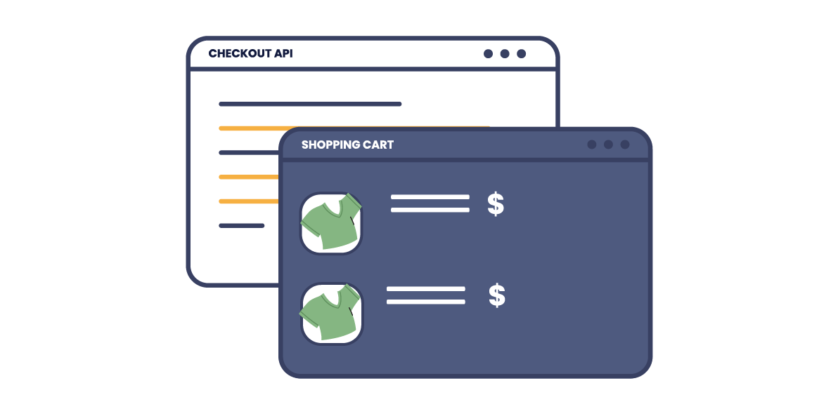 Illustration: Two browser windows. One displays a ecommerce site and the other shows a basic checkout api