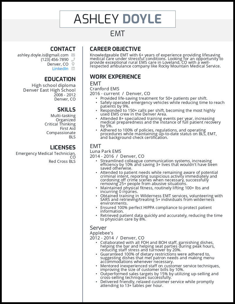 EMT resume with 6+ years of experience