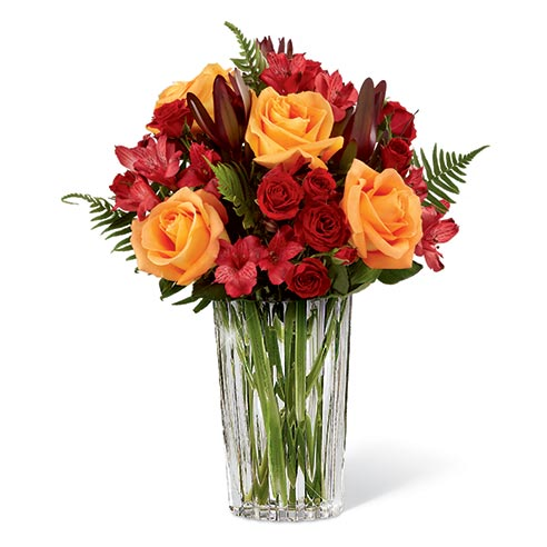 Best selling Thanksgiving flowers orange rose red alstroemeria bouquet