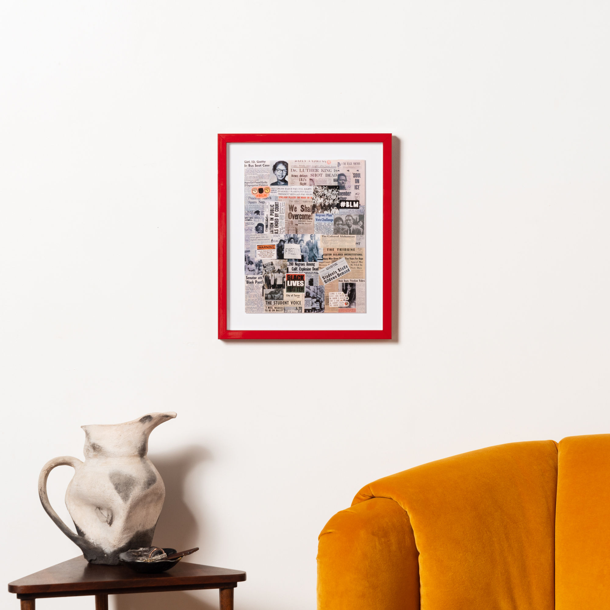 social justice art in red frame