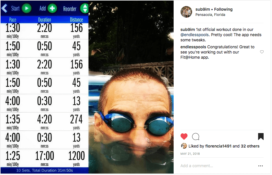 Instagram post of a triathlete's first Endless Pools swim with the Endless Pools Fit at Home app
