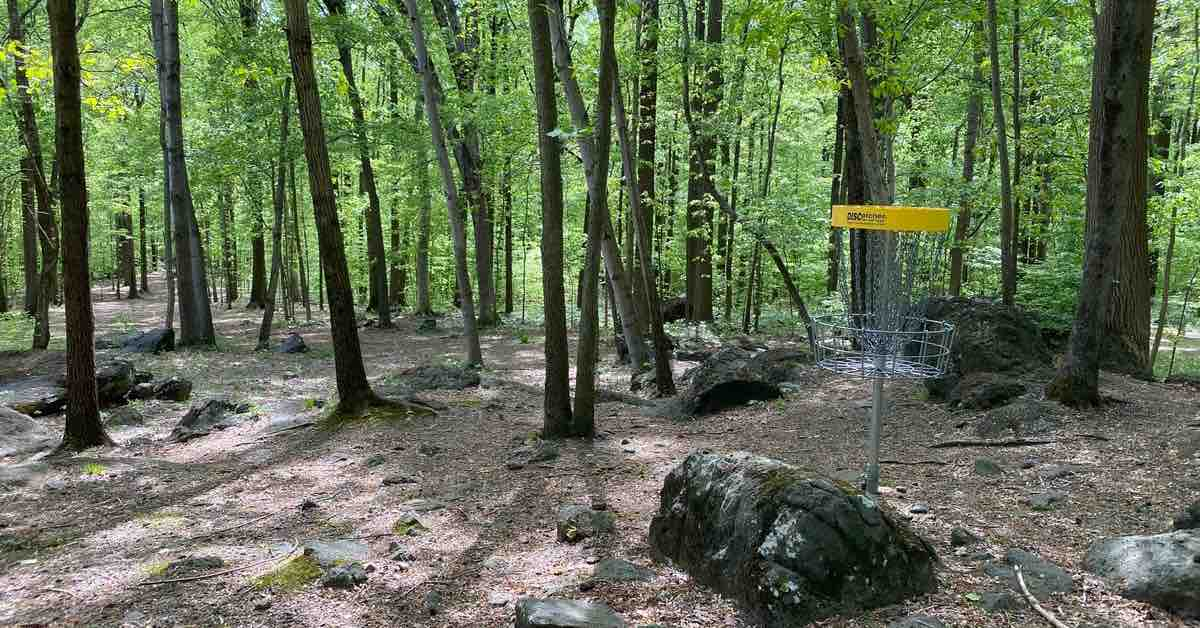 A disc golf basket on a very wooded hole near exposed rocks