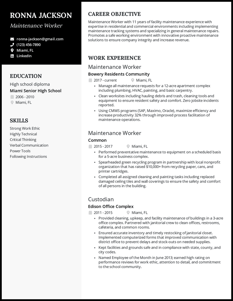 Maintenance worker resume with 11 years of experience