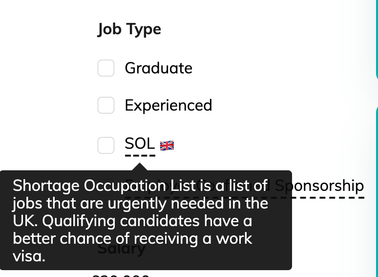 SOL filter on ukhired