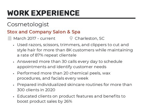 Cosmetologist resume with quantifiable job descriptions