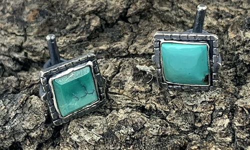 Sterling Silver and Turquoise Non-traditional JewelryCuff Links