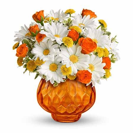 Best selling Thanksgiving flowers white daisies and yellow mums bouquet